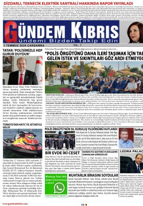 Gündem Kıbrıs Gazetesi - Kıbrıs Haber - 01.07.2020 Manşeti